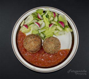 Fish Cakes-Salad-Tomato Puree